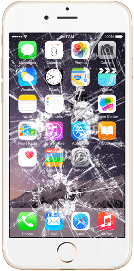 An iPhone 6 with a cracked display